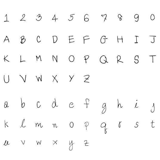 illustrations, cliparts, dessins animés et icônes de croquis de l'alphabet dessinées à la main - polices ligne fine