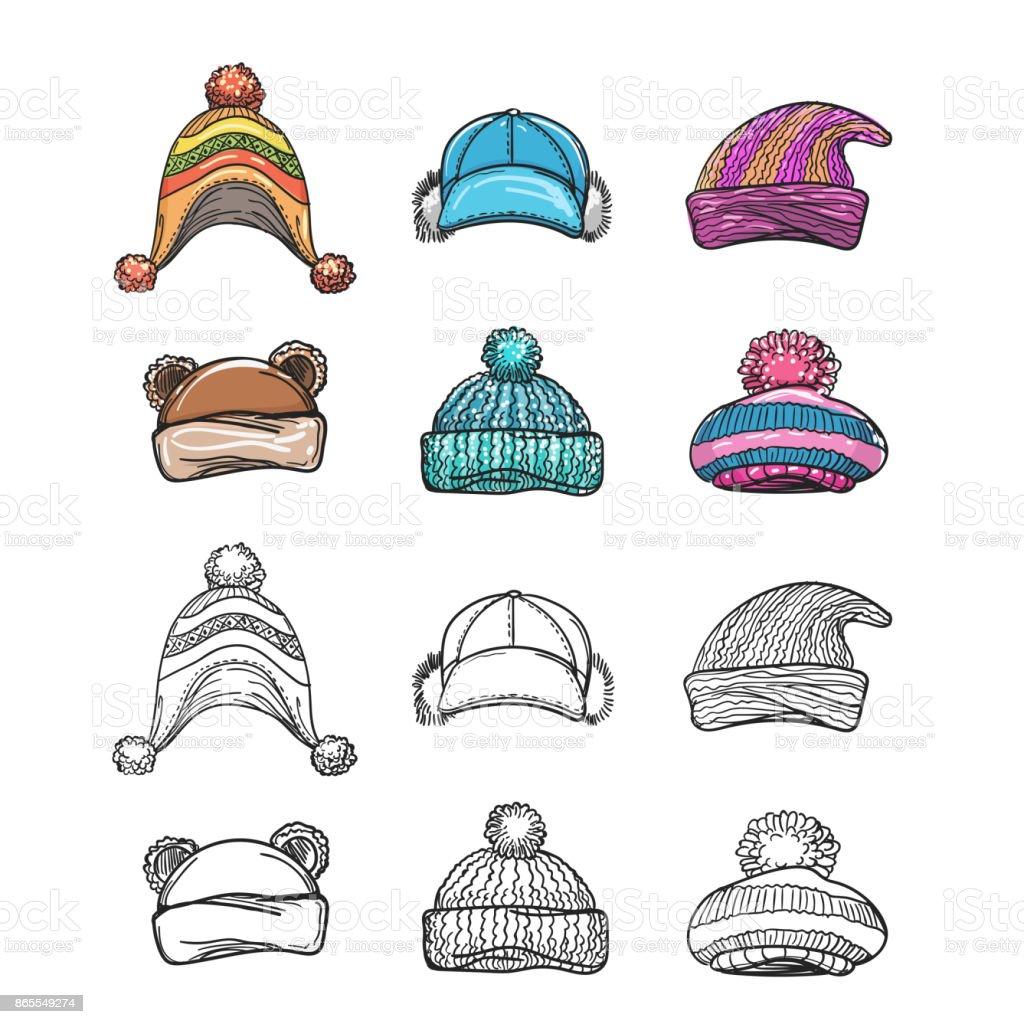 Ilustración de Dibujo Y Colorido Invierno Sombrero Conjunto y más ...