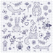 Animals and plants, hand-drawn on notebook sheet in a cage.