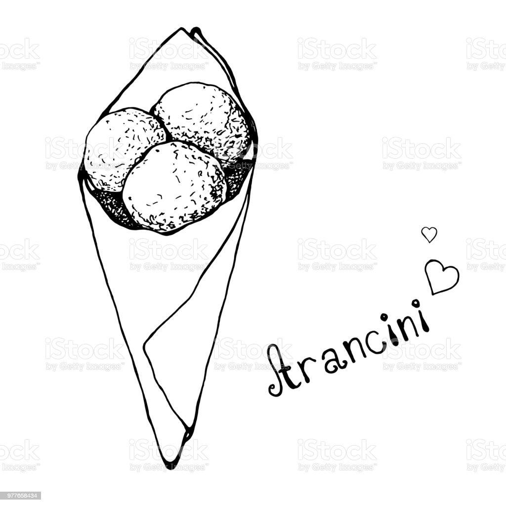 Aranchini croquis dans un sac en papier. Cuisine italienne. Illustration vectorielle. - clipart vectoriel de Aliment libre de droits