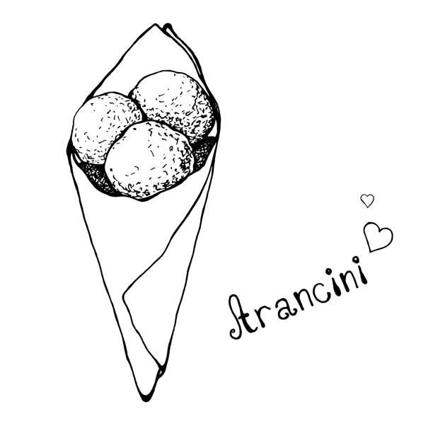 illustrations, cliparts, dessins animés et icônes de aranchini croquis dans un sac en papier. cuisine italienne. illustration vectorielle. - risotto