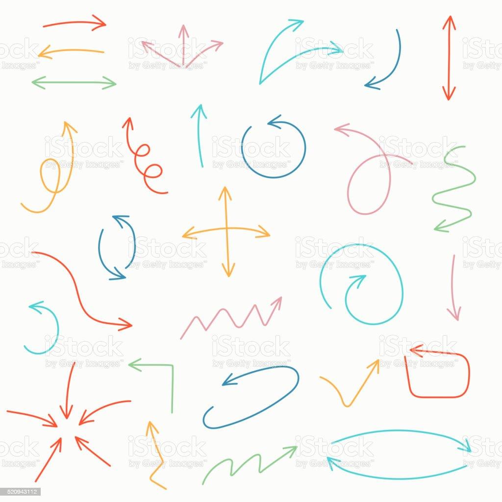 Ensemble de croquis flèche - Illustration vectorielle