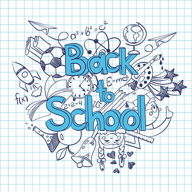 Sketch Back to School Background. Hand drawn sketch Back to School background. Abstract funny school scribbles on a sheet of exercise book. elementary age stock illustrations
