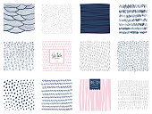 Set of abstract square backgrounds and sketch dots textures. Vector illustration.