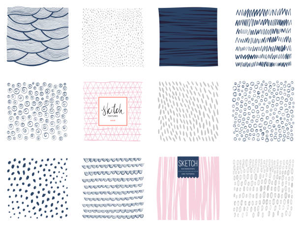 Sketch Backgrounds_01 Set of abstract square backgrounds and sketch dots textures. Vector illustration. natural pattern stock illustrations