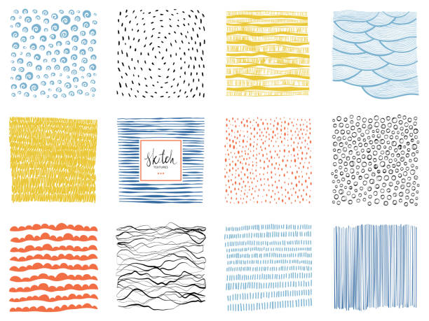 sketch backgrounds_03 - blue drawings stock illustrations