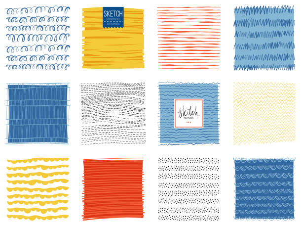 Sketch Backgrounds_04 Set of abstract square backgrounds. Vector illustration. natural pattern stock illustrations