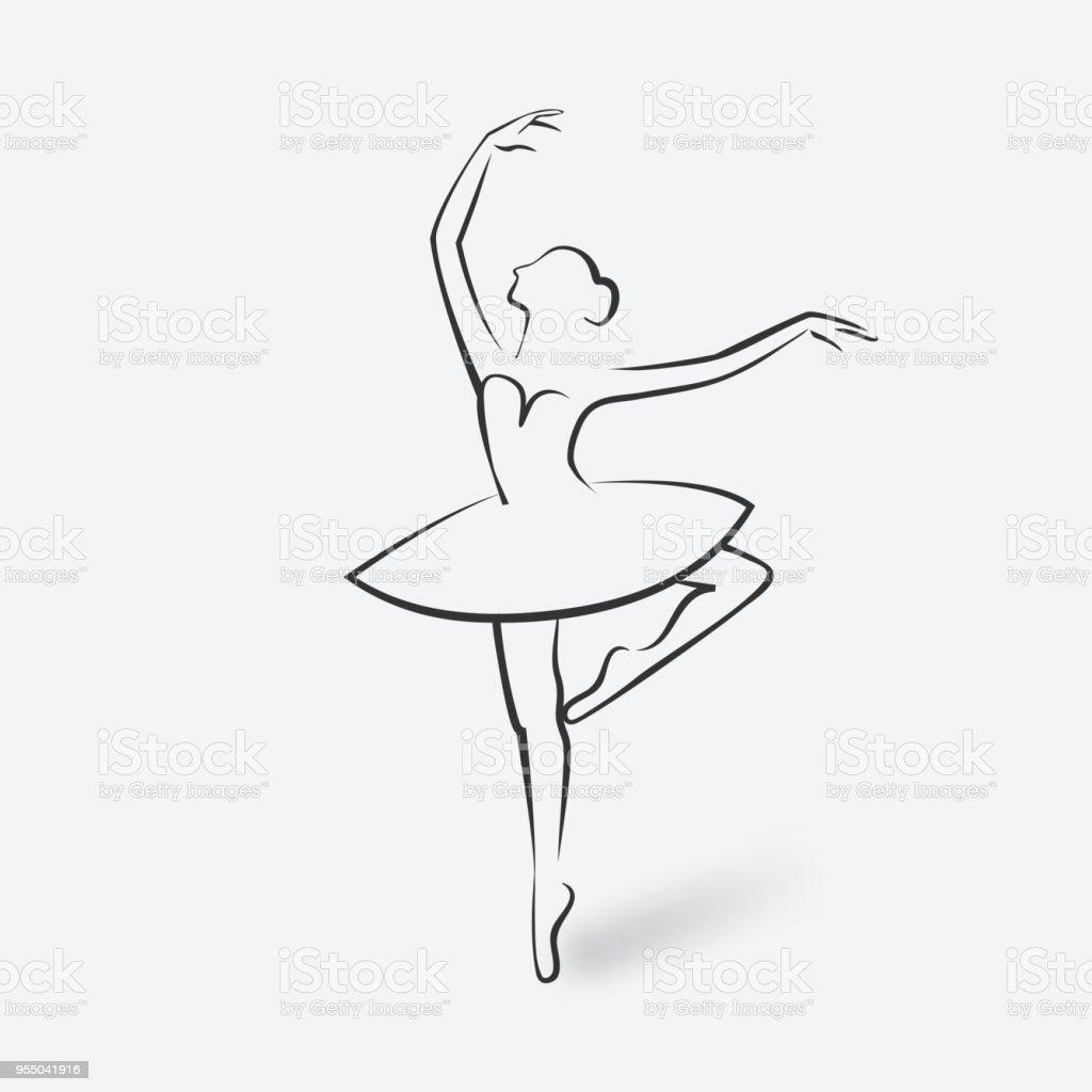 sketch ballet posture dancing studio symbol stock vector