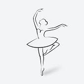 sketch ballet posture. dancing studio symbol