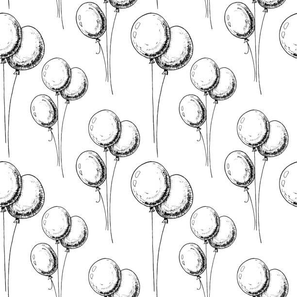 ilustrações de stock, clip art, desenhos animados e ícones de sketch balloons pattern. - balão enfeite