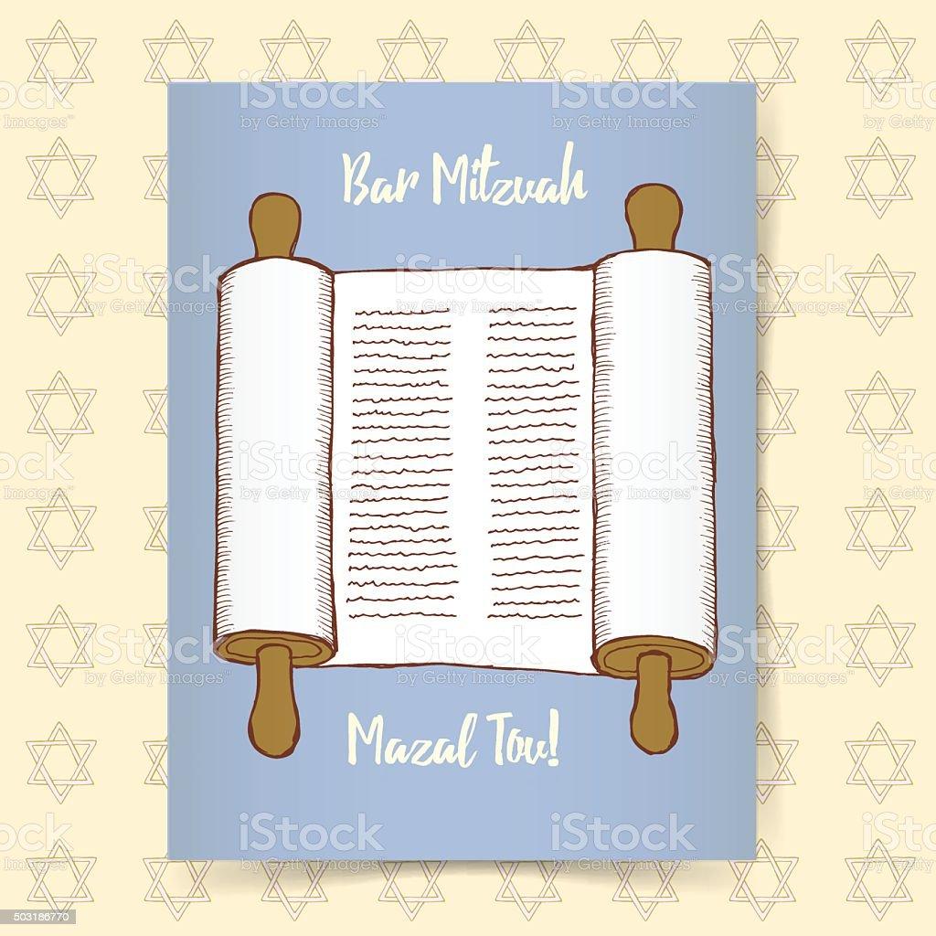 Sketch Bar Mitzvah poster vector art illustration