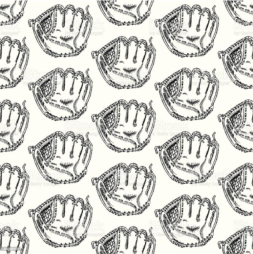 Ilustración de Boceto Guante De Béisbol Vintage Patrón Sin Costuras ...