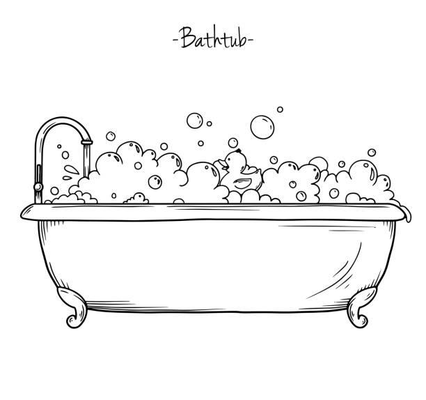 illustrations, cliparts, dessins animés et icônes de mousse de bain de croquis et canard en caoutchouc. illustration vectorielle dans le style d'esquisse. - mousse d'emballage