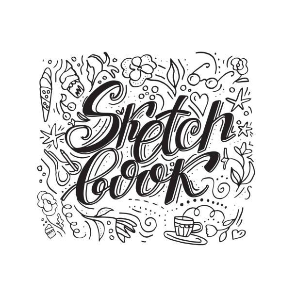 skizzenbuch. hand beschriftet isoliert vektor wörter auf weißem hintergrund mit doodle-elemente - schulbedarfskuchen stock-grafiken, -clipart, -cartoons und -symbole