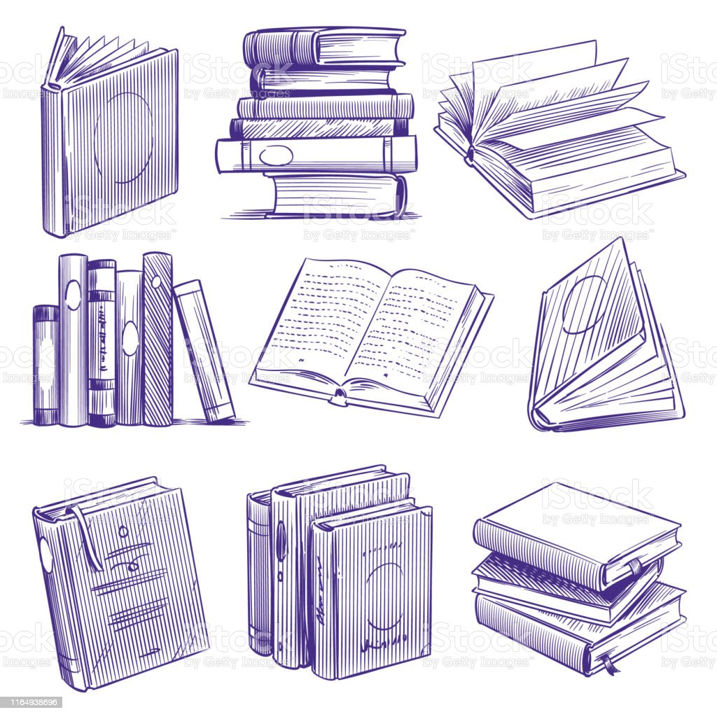 Sketch books. Vintage hand drawing pile of book. Library literature...