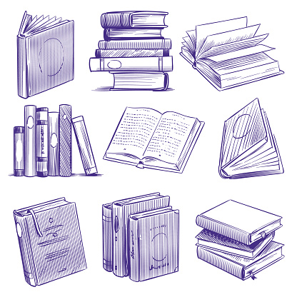 Sketch books. Vintage hand drawing pile of book. Library literature education symbols, sketch engraving notebooks vector set