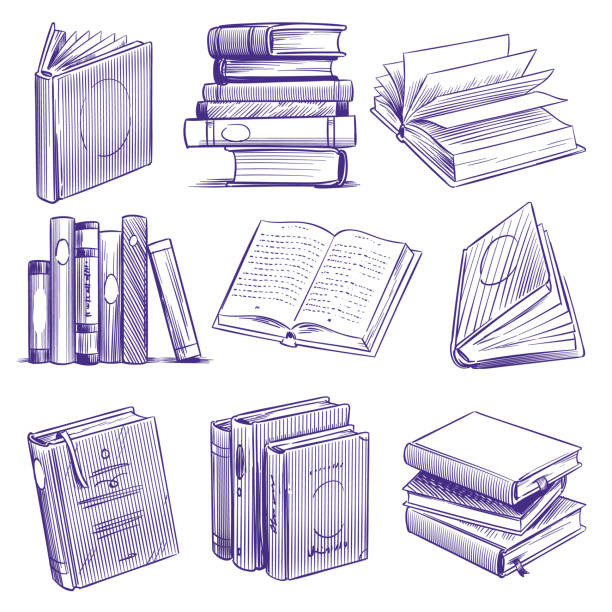 Sketch books. Vintage hand drawing pile of book. Library literature education symbols, sketch engraving notebooks vector set Sketch books. Vintage hand drawing pile of book. Library literature education symbols, sketch engraving notebooks vector isolated retro ink line set book drawings stock illustrations