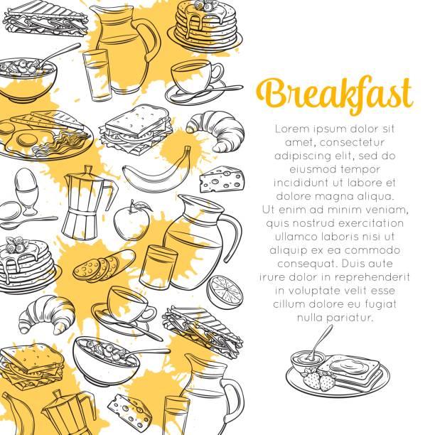 stockillustraties, clipart, cartoons en iconen met schets ontbijt lay-out - breakfast