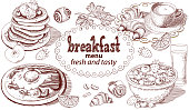 The vector illustration of breakfast menu with text. Hand drawn sketch. Elements for your design.