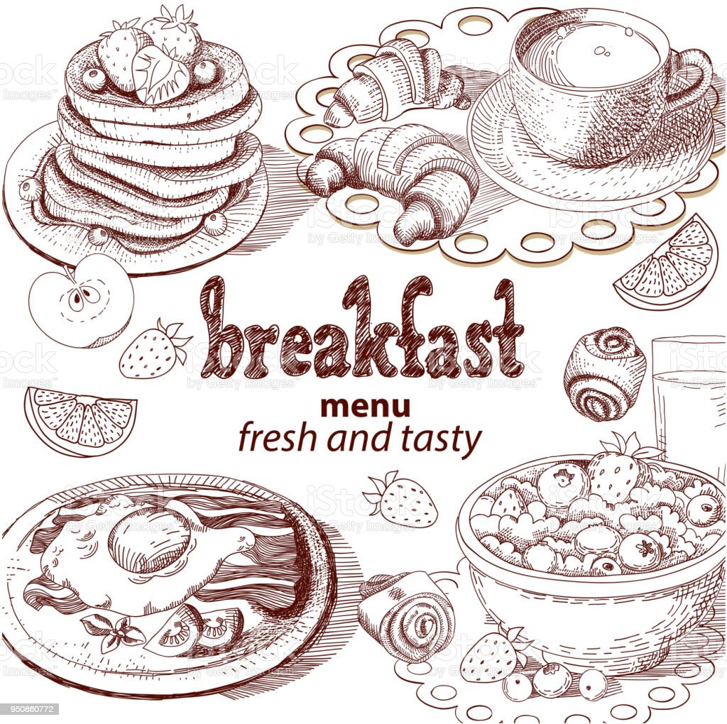 Image result for drawing of breakfast""