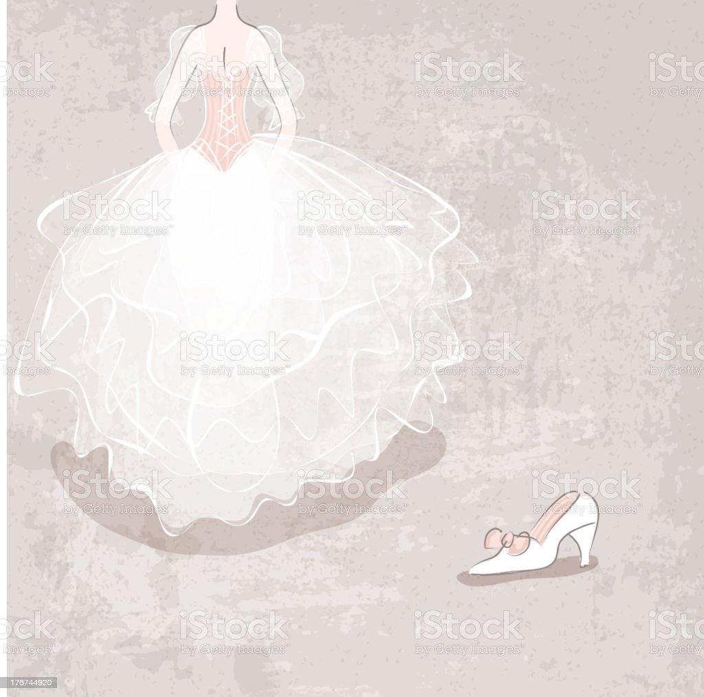 Skizze der Braut im Hochzeitskleid – Vektorgrafik