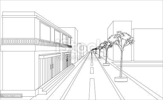 sketch design of building and highway vectors. Outline perspective design
