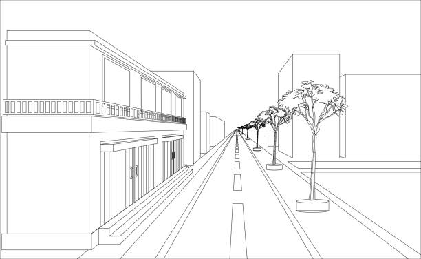 sketch building perspective sketch design of building and highway vectors. Outline perspective design distant stock illustrations