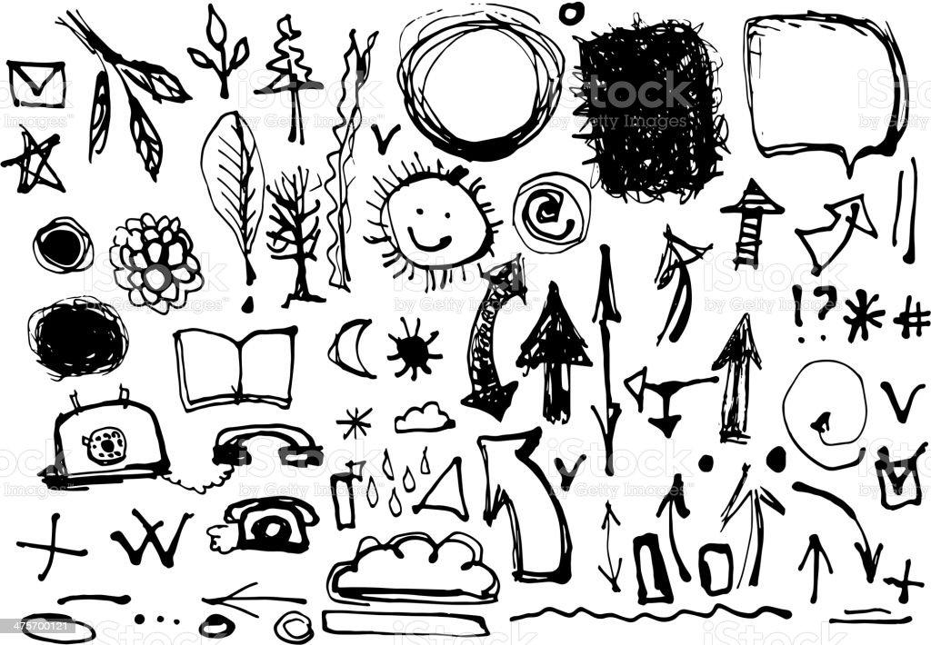 Bocetos a mano.  Conjunto de dibujos de tinta.  Símbolos, flechas - ilustración de arte vectorial