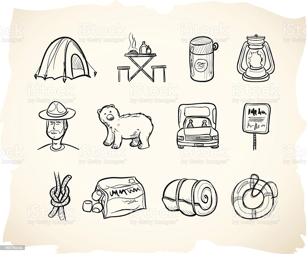 Sketch Camping Icons royalty-free stock vector art