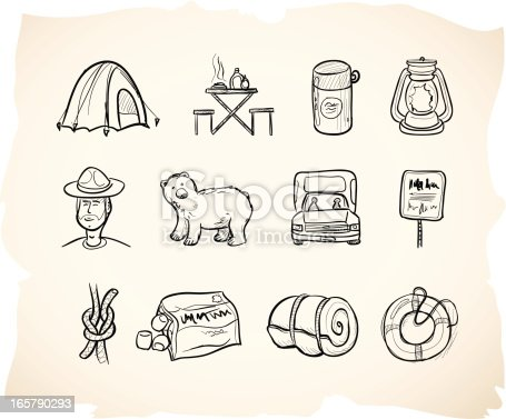 Icons in sketchy hand drawn style for camping.