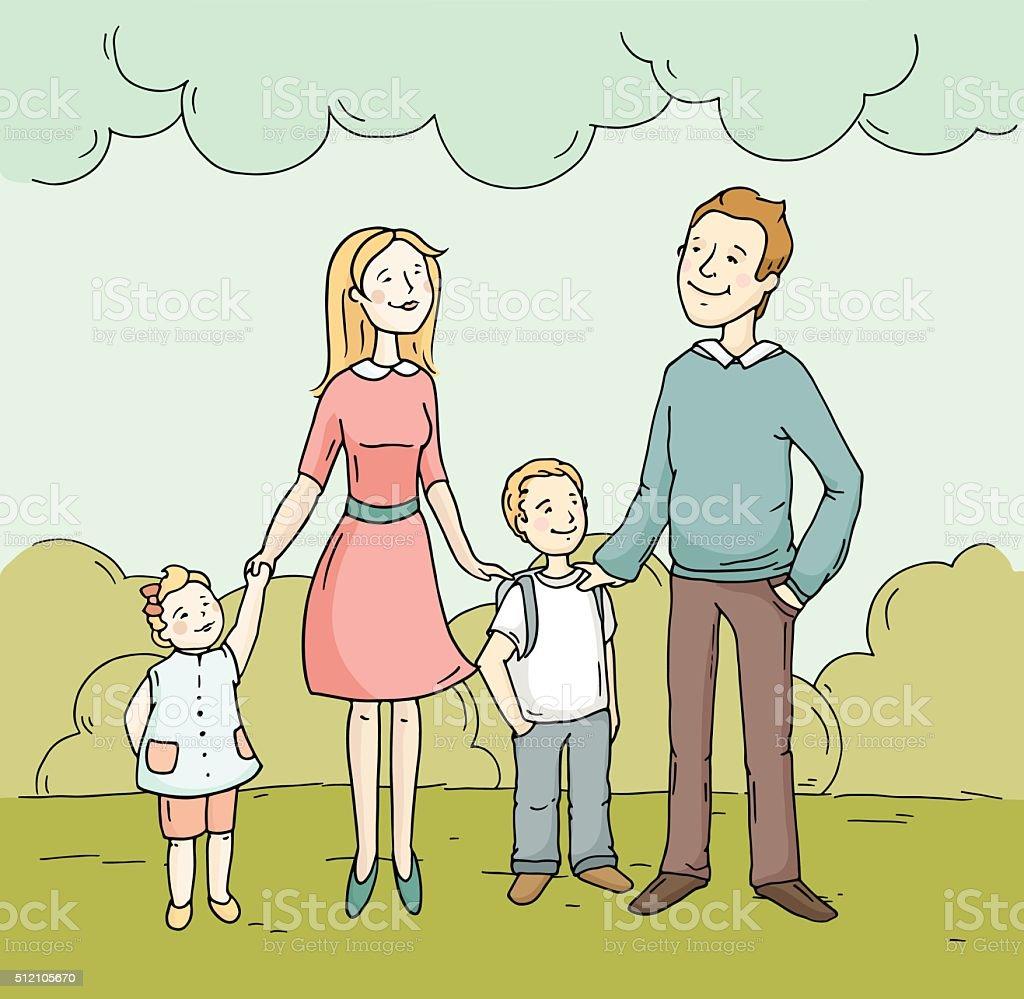 Ilustración De Bosquejo Dibujos Animados Levantado Familia Feliz
