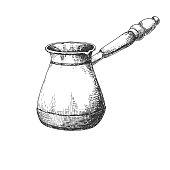 Sketch cezve. Cezve isolated on white background.