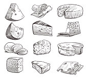 Sketch cheese. Various types of cheeses. Fresh cheddar, feta and parmesan dairy snack. Hand drawn retro vector isolated tasty cuisine product set