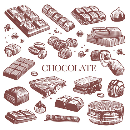 Sketch chocolate. Engraving black chocolate bars, truffle sweets and coffee beans. Vintage hand drawn isolated vector set
