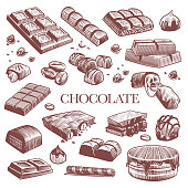Sketch chocolate. Engraving black chocolate bars, truffle sweets and coffee beans. Vintage hand drawn isolated engraved dessert vector set