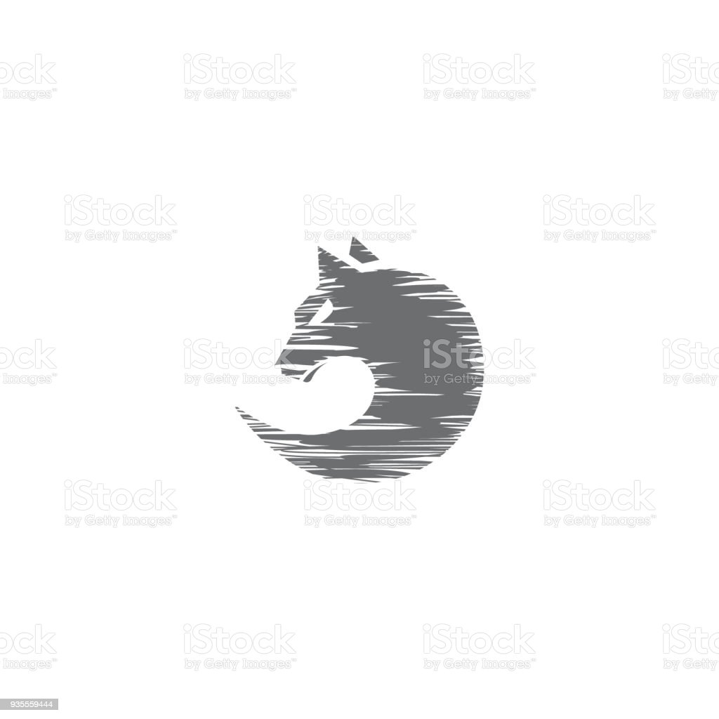 sketch circle wolf face emblem template for business design concept