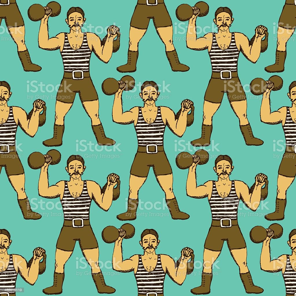 Sketch circus strongman in vintage style vector art illustration