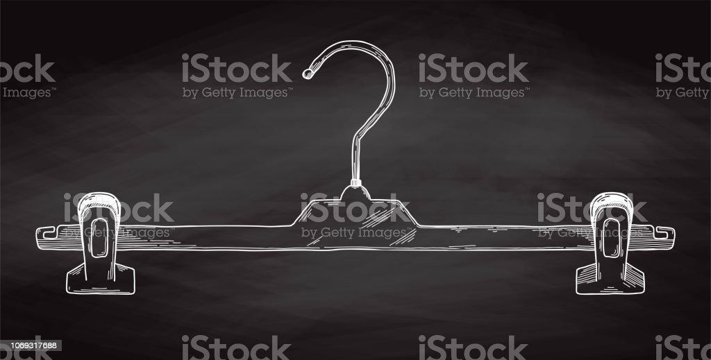 Sketch clothes hangers on chalk board. Vector vector art illustration