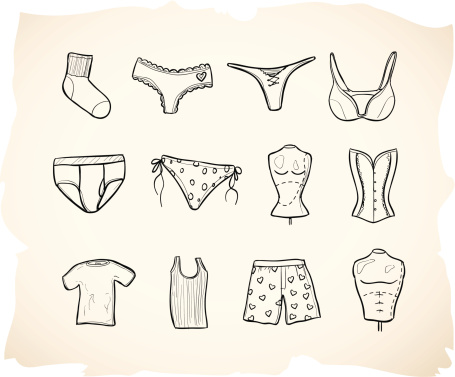Sketch clothing icon series