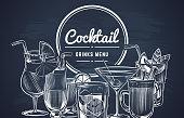 Sketch cocktail background. Hand drawn alcohol cocktails drinks bar menu, cold drinking restaurant beverages set. Vector lemon drawing long drink engrave coctalis design