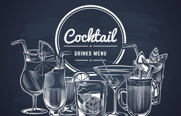 sketch cocktail background. hand drawn alcohol cocktails drinks bar menu, cold drinking restaurant beverages set. vector design - alcohol drink backgrounds stock illustrations