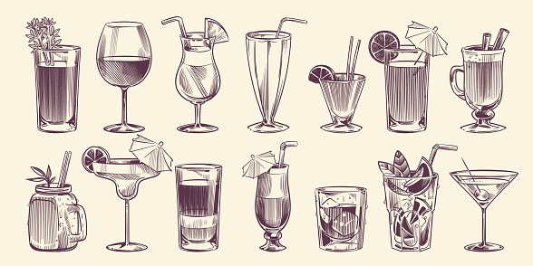 Sketch cocktails. Hand drawn different cocktail, alcohol drink in glass for party restaurant menu, cold mojito, tropical pina colada and margarita, engraving style vector isolated set