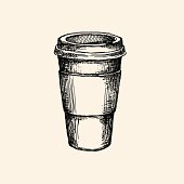 Hand drawn illustration of coffee cup.