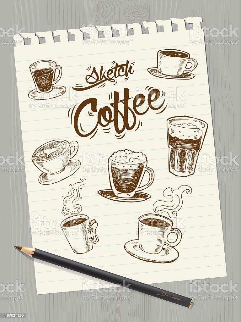 sketch Coffee on paper vector art illustration