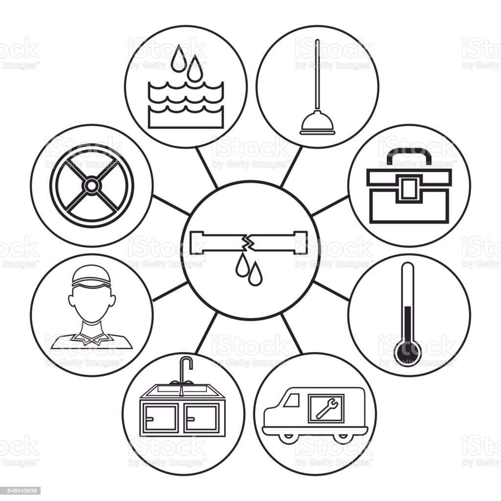 sketch contour icons plumbing connected to center circular frame with broken pipe vector art illustration