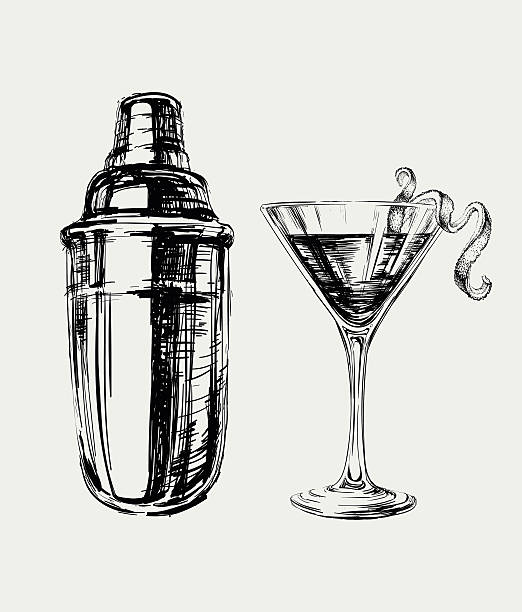 Sketch Cosmopolitan Cocktails and Shaker Vector Hand Drawn Illustration Sketch Cosmopolitan Cocktails and Shaker Vector Hand Drawn Illustration martini glass stock illustrations