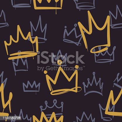 Sketch crown pattern. Seamless print texture girl princess crowns luxury royal ink corona wallpaper fashion interior doodle vector background