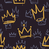 Sketch crown pattern. Seamless print texture girl princess crowns luxury royal corona wallpaper interior doodle vector background