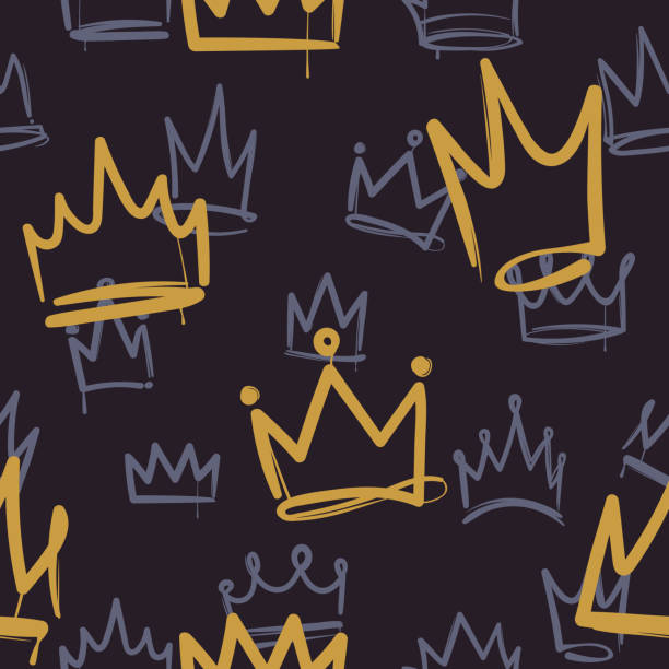 Sketch crown pattern. Seamless print texture girl princess crowns luxury royal corona wallpaper interior doodle vector background Sketch crown pattern. Seamless print texture girl princess crowns luxury royal ink corona wallpaper fashion interior doodle vector background graffiti background stock illustrations