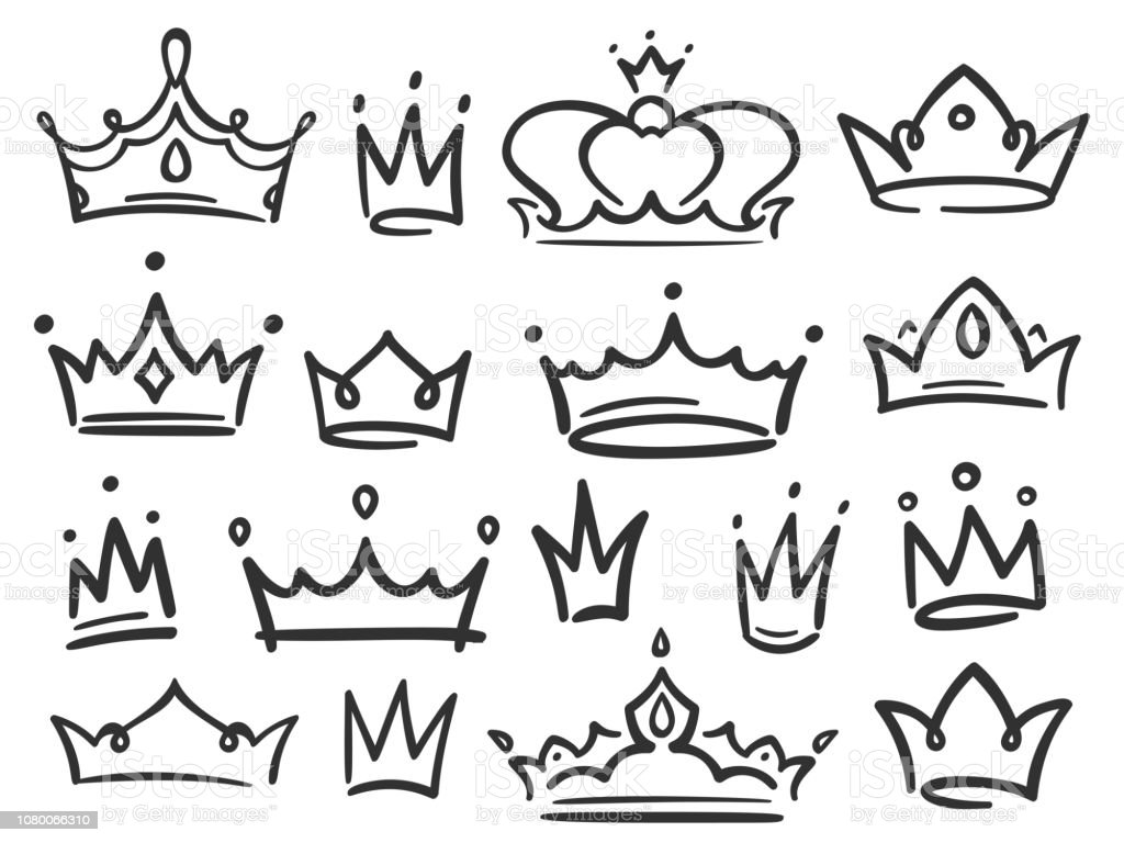 Simple graffiti crowning elegant queen or king crowns hand drawn vector illustration illustration
